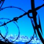 Barbed wire fence image